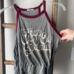 """Keep on dreaming"" olive green/maroon tank"